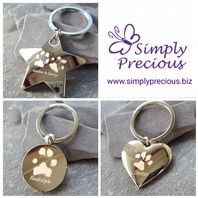 Personalised Chrome Pawprint Keyring
